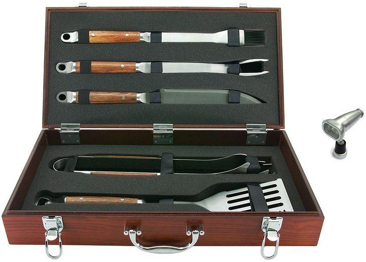 Mr. Bar-B-Q 5-pc. wood tool set & magnetic grill light