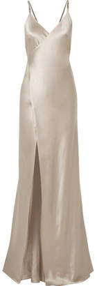 Michelle Mason - Chain-embellished Silk-charmeuse Wrap Gown - Platinum