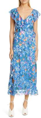 Tanya Taylor Arielle Floral Ruffle Detail Midi Dress