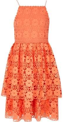 River Island Girls Orange tiered frill lace dress