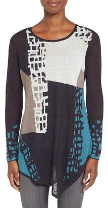 Women's Nic+Zoe 'Shadowblock' Asymmetrical Linen Blend Top $148 thestylecure.com