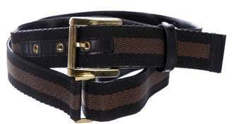 Gucci Web-Trimmed Canvas Belt