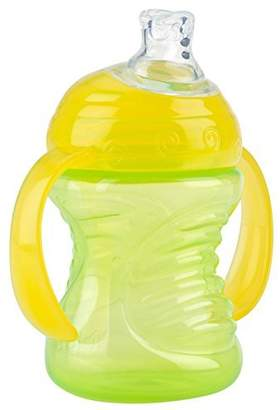 Nuby 2 Handle Super Spout No Spill Cup, Green/Yellow, 8 Ounce