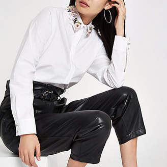 River Island White floral embellished collar shirt