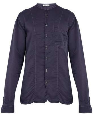 Tomas Maier Cotton And Silk Blend Shirt - Mens - Navy