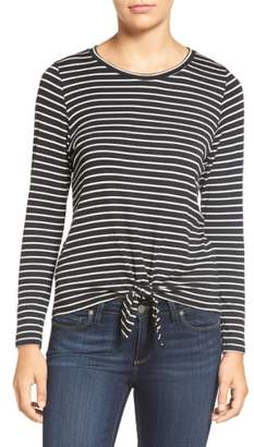 Amour Vert 'Melinda' Stripe Tie Hem Top