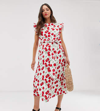 53b19575c8c Glamorous Bloom midi dress with ruffle sleeves and tie waist in cherry print
