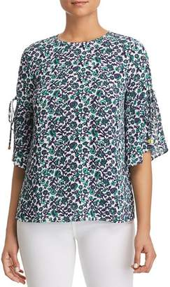 MICHAEL Michael Kors Lace-Up-Sleeve Floral-Print Top