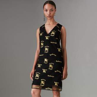 Burberry Archive Logo Embroidered Tulle Shift Dress