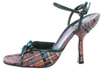 Miu Miu Tweed Floral Sandals