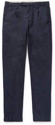 Massimo Alba Blue Slim-fit Pleated Cotton Trousers - Navy