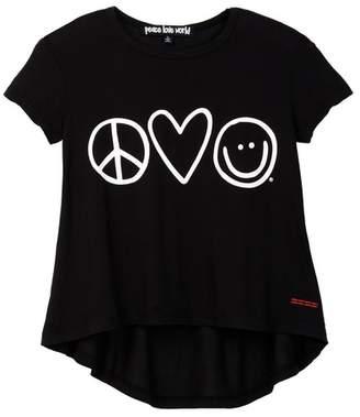 Peace Love World Graphic Print Hi-Lo Tee (Big Girls)