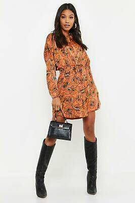 boohoo NEW Womens Chain Print Luxe Shirt Dress in Polyester