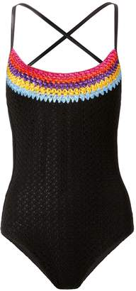 Missoni Mare Rainbow Crochet-Trimmed Black One Piece Swimsuit