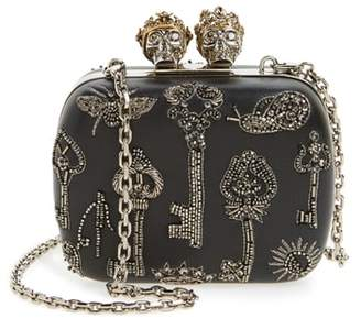 Alexander McQueen Embellished Kiss Lock Mini Clutch