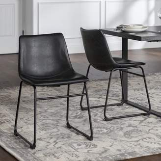 """Walker Edison 18"""" Industrial Faux Leather Dining Chair, set of 2 - Black"""