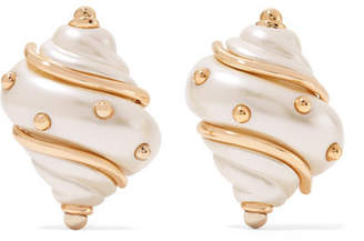 Kenneth Jay Lane Gold-plated Faux Pearl Clip Earrings - White