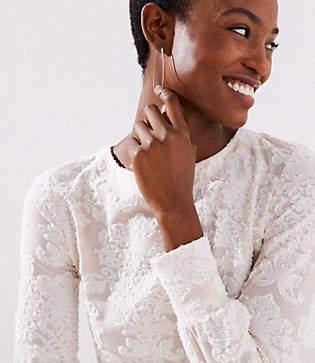 LOFT Petite Floral Textured Sweatshirt