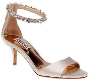 Badgley Mischka Geranium Embellish Satin Ankle-Strap Pumps