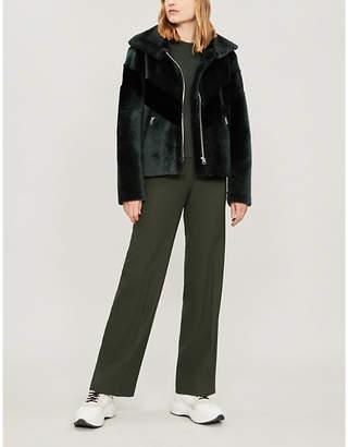 Sandro Chevron-stripe shearling jacket