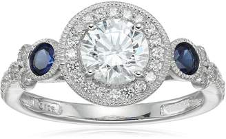 Swarovski Amazon Collection Platinum-Plated Sterling Zirconia Antique Round-Cut and Created Sapphire Ring size 5
