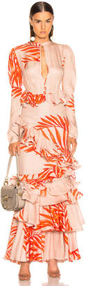 Johanna Ortiz California Dreaming Dress in Camel & Tangerine | FWRD