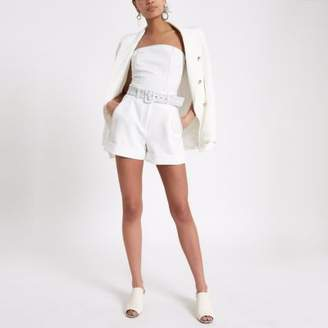 River Island Womens White contrast stitch belted shorts