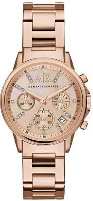 Armani Exchange Rose Tone Chronograph Dial Rose Tone Bracelet Ladies Watch