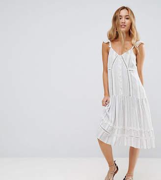 Asos Cotton Stripe Midi Sundress With Cotton Trim