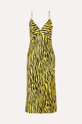 Olivia von Halle Issa Printed Silk-satin Nightdress - Bright yellow
