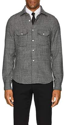 Kiton Men's Houndstooth Wool-Silk Shirt Jacket - Wht.&blk.