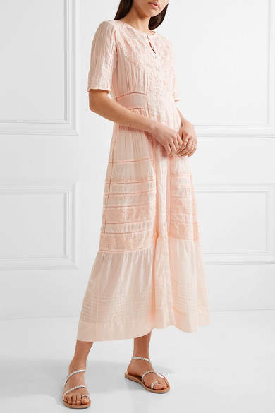 LoveShackFancy - Della Pointelle-trimmed Embroidered Cotton Maxi Dress - Pastel pink 5
