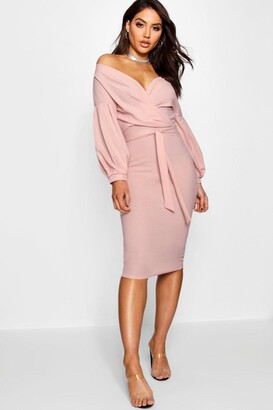 boohoo Off The Shoulder Wrap Midi Bodycon Dress
