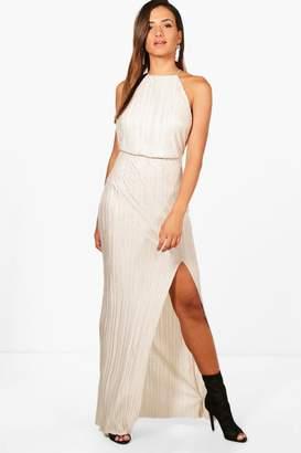 boohoo Pletaed Thigh Split Maxi Dress