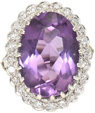 One Kings Lane Vintage Amethyst & Diamond Cocktail Ring - Owl's Roost Antiques