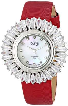 Burgi Women's BUR092RD Swiss Quartz Silver Crystal Accented Swiss Quartz Watch with Mother of Pearl Dial and Red Fabric Strap