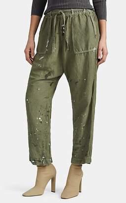 NSF Women's Rao Distressed Linen-Blend Cargo Pants - Green