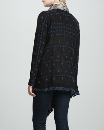 Johnny Was Collection Roney Long-Sleeve Embroidered Wrap Jacket, Women's