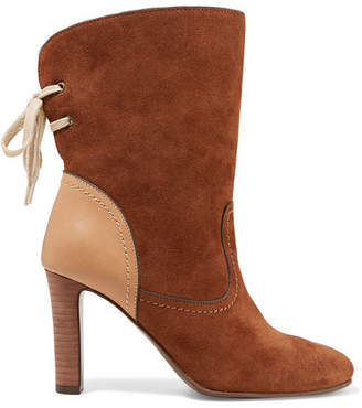 See by Chloe Lara Leather-trimmed Suede Ankle Boots - Camel