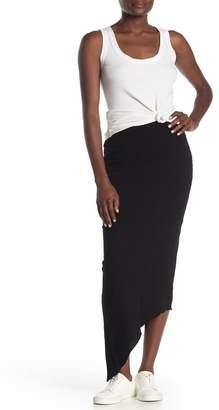 Frank And Eileen Raw Edge Asymmetrical Hem Knit Midi Skirt