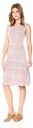 Cable Stitch Women's Scallop Detail Mixed Stitch Dress