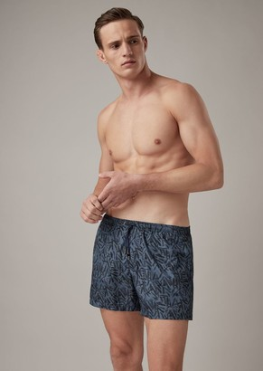 Giorgio Armani Swimming Shorts In Abstract Patterned Fabric