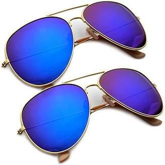 bc6ed5354b Revo MLC Eyewear Frame Flash Mirrored Lens Large Teardrop Aviator  Sunglasses (2 Pack  Midnight