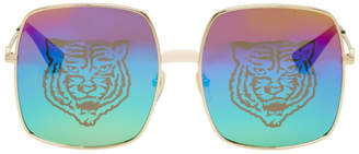 Gucci Gold Metal Rectangular Sunglasses