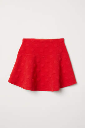 H&M Jersey Skirt with Flounce - Red