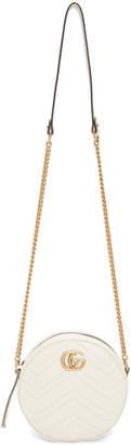 Gucci White Mini GG Marmont Round Bag
