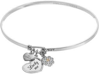 "Hallmark Sterling Silver Cubic Zirconia ""Lucky Me"" & Clover Charm Bangle Bracelet"
