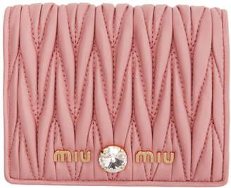 Miu Miu Pink Quilted Crystal Wallet