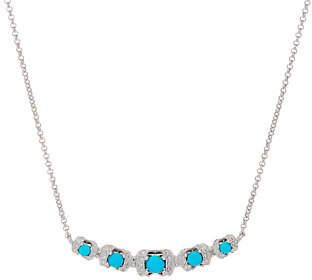 QVC Gemstone Diamond Cut Curved Bar Necklace,Sterling Silver