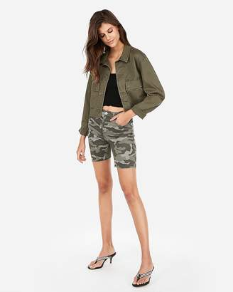 Express High Waisted Camo Bermuda Shorts